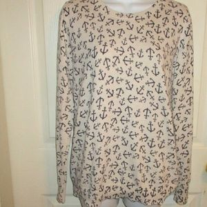 Old Navy Ivory/Navy Anchor Sweater SZ M